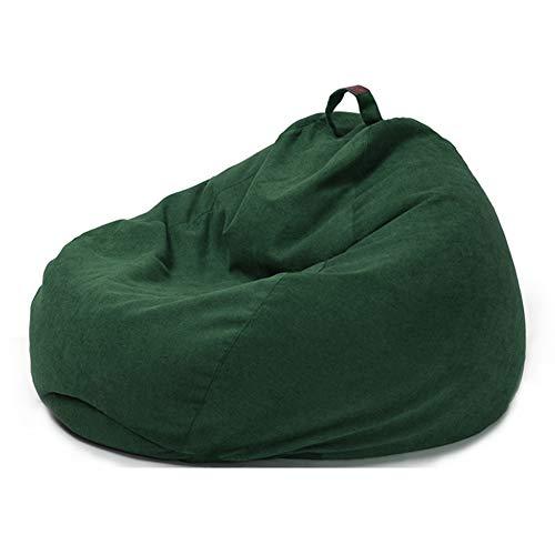ZZX Funda de Bean Bag, Relleno para Puff Funda para Puf Funda de Puff Grande Sofá Liso Diseño de Lino Simple para Adultos Y Niños, Sin Relleno,Verde,XL