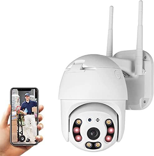 VIDOELETTRONICA® PTZ - Cámara de vigilancia con wifi externa, 1080P IP Cam inalámbrica 355° /90°, 40 m, visión nocturna, audio de 2 vías, detección de movimiento, mensaje Push