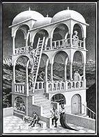 ポスター MC エッシャー ベルベデーレ(物見の塔) 額装品 アルミ製ハイグレードフレーム(ブラック)
