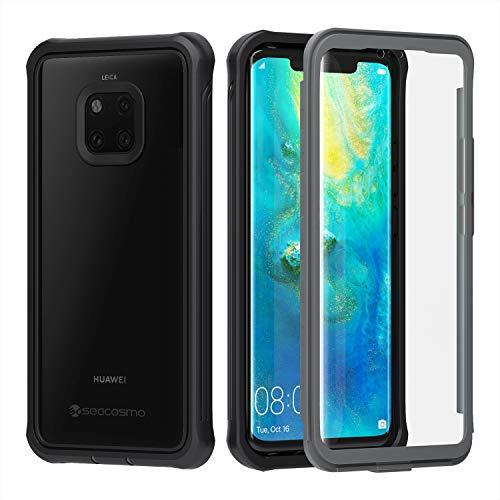 seacosmo HuaweiMate20 Pro Hülle, Stoßfest Handyhülle HuaweiMate20 Pro 360 Grad Rugged Case mit eingebautem Bildschirmschutz für Mate20 Pro, Schwarz