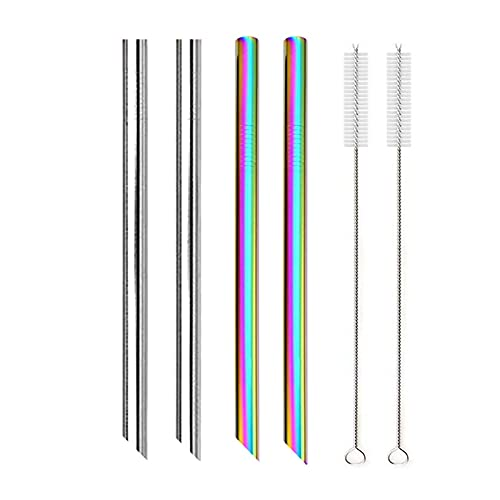 XDZW 4Pcs Straw + 2pcs brush Angled Tips Reusable Smoothie Straws 304 Stainless Steel Straws Party Bar Drinking Metal Straw for Bubble Tea Silver-Rainbow