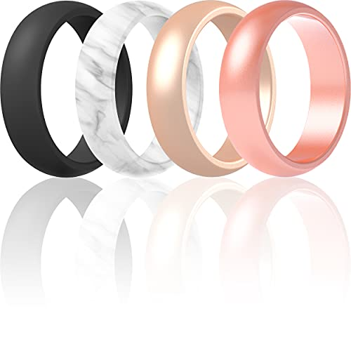Silicone Rings Wedding Bands For Women 4 Pack (Black, Marble, Light Rose Gold, Rose Gold, 4.5 - 5 (15.7mm))