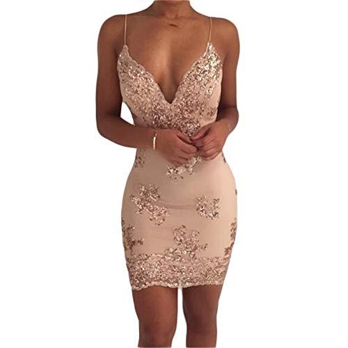 QIYUN.Z Mujeres Sexy Tirantes Halter Lentejuelas Slim Bag Hip Dress (Golden XL)