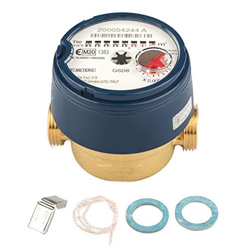 Wasserzähler QN 1,5 Kaltwasser, BL 80 mm 1/2 Zoll Durchfluss - 3/4 Zoll Anschluss Beste Messgenauigkeit, aktuelle Eichung