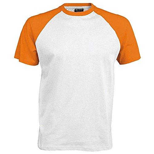 Kariban–Camiseta de manga corta para hombre Bianco/Arancio Large