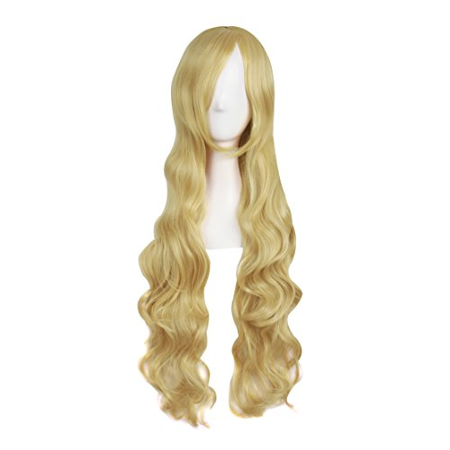 MapofBeauty 32' 80cm Long Hair Spiral Curly Cosplay Costume Wig (Mixed Golden)