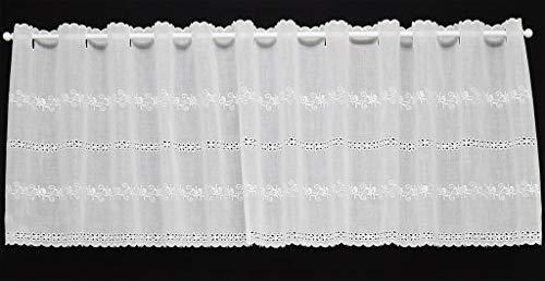 Tenda della finestra Batiste con delicato ricamo croce | Può scegliere la larghezza in segmenti da 21 cm, come vuole | Colore: Bianco
