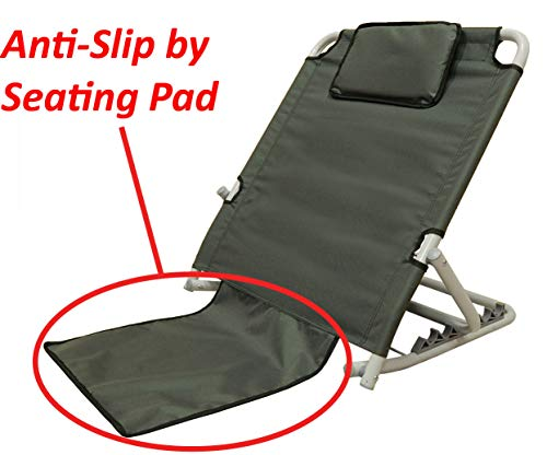 """ObboMed SM-5200G Adjustable Sit-up Back Rest for Orthopedic Neck, Head and Lumbar Support, Polyester, PVC & Chromed Steel Frame, Check, 22.5""""25.6""""19.7"""", 1pc"""