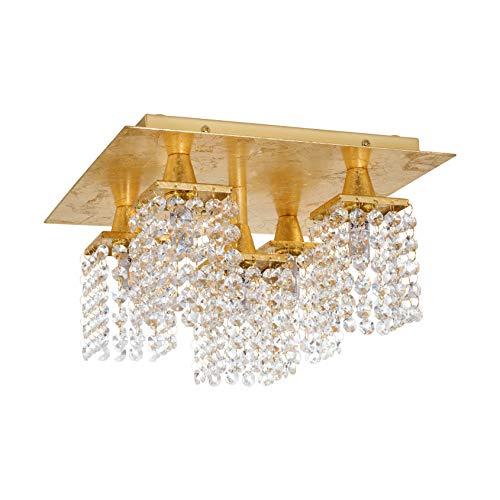 EGLO Lámpara de techo Pyton dorado, 5 focos, vintage, elegante, para salón, de acero y cristal en oro, transparente, para cocina, pasillo, con casquillo G9