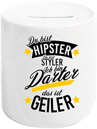 Shirtstown Spardose, Du bist Hipster du bist Styler ich Bin Darter das ist Geiler Spardose, Sparschwein, sparen, Geld Geschenke, Spruch Sprüche Logo Familie Freunde Liebe