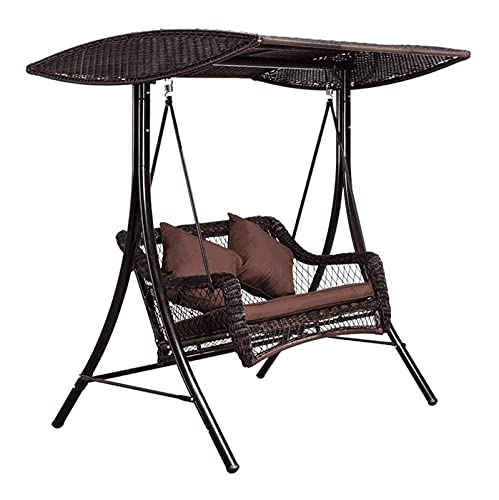 HLZY Balancín de columpio grande al aire libre con soporte, columpio de porche con soporte exterior Muebles al aire libre Swing doble mecedora, Sillón de jardín cojín impermeable de ratán