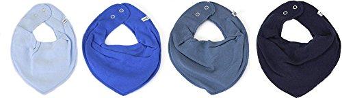 Pippi Lot de 4 bavoirs triangulaires pour bébé, bleu