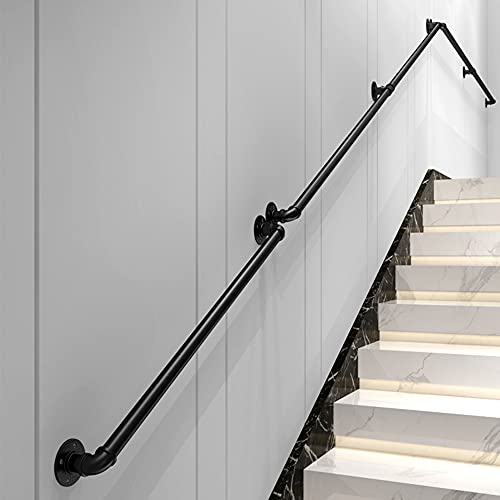 Welpettie 9FT Staircase Handrail Industrial No-Slip Black Pipe with 4 Wall Mount Supports Rustic Pipe Handle Stair Railing Indoor Outdoor Stairs Porch Deck Hand Rail 9FT