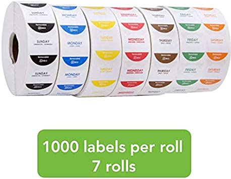 Monday Roll of 1000 Day of The Week Rotation Label Trilingual 1 x 1 Inch Dissolvable Label