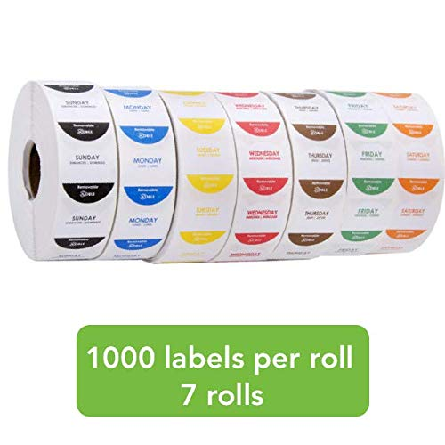 Removable 1 Inch Day of The Week Labels - 1 Roll for Each Day - 1000 Labels per Roll - 7000 Labels