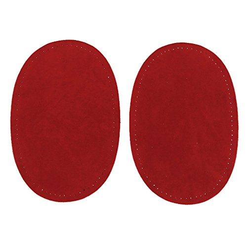 Sharplace Parche Ovalada en Rodilla Codo para Coser Costura DIY 1 Par - Rojo