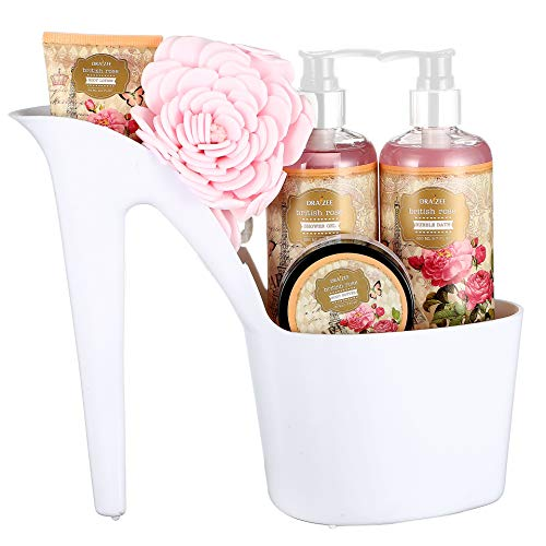 Draizee Rose Scented Home Spa Luxurious 4 Piece Relaxation with Lovely Fragrance Gift Basket Set for...