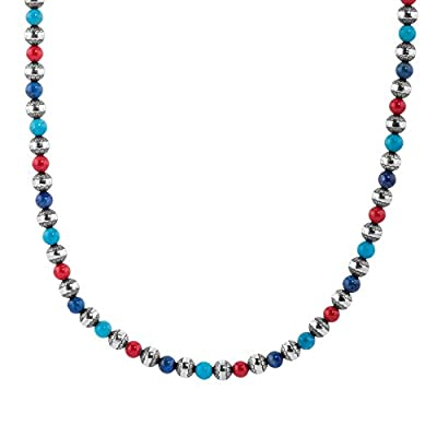 American West Sterling Silver Red Coral, Turquoise and Blue Lapis Gemstone and Native Pearl Beaded Necklace 17 to 20 Inch