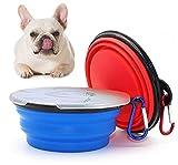 2 Piezas Cuenco para Perros Plegable,Cuenco de Silicona para Perros,Cuenco Portátil para Perros con Tapa,para Gatos,Perros,Senderismo,Camping