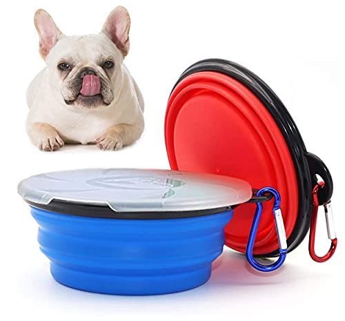 2 Stück Klappbarer Hundenapf, Napf für unterwegs Hund,Hundenäpfe Faltbare Reiseschale,Haustier Reisenapf mit Deckel und Haken Tragbare für Hunde Wanderungen and Camping (450ML)