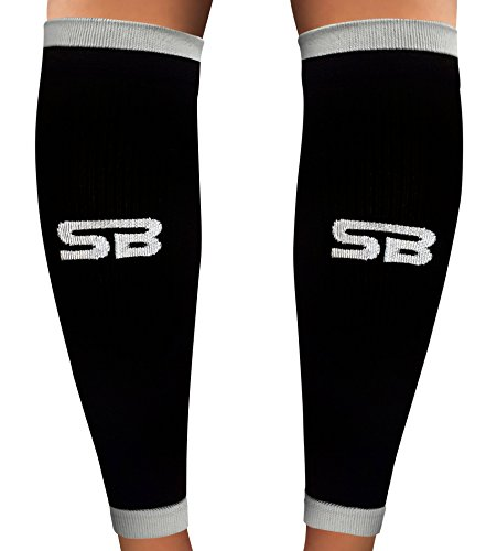 SB SOX Compressione Calf Sleeves (20-30Mmhg) Per Uomo E Donna Medium Nero/Grigio