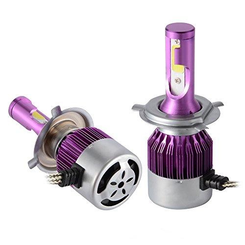 2pcs 6000LM 50W LED Car Headlight H4 Halogen Lamp Bulb Built-in Cooling Fan 6000K White