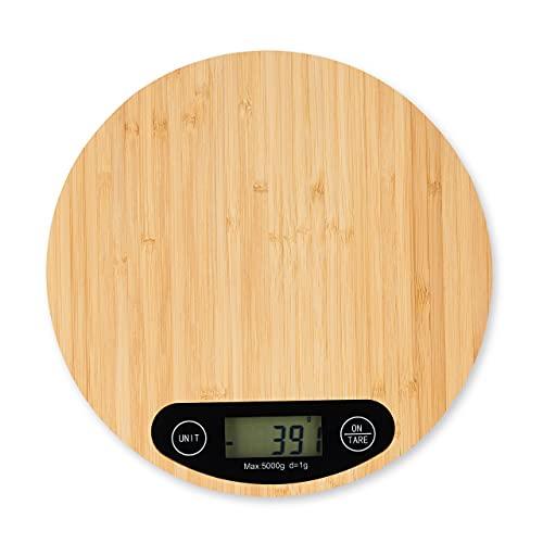 relaxdays Balance Cuisine Bambou numérique, écran LCD, Fonction Tare, supporte Jusqu'à 5 kg, Ronde, Ø 20 cm, Nature, 1 unité