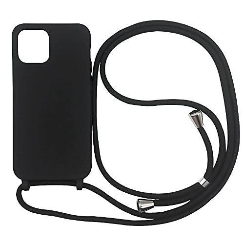 Hykjt Cover Compatible con Samsung Galaxy Note 10,Cordino Custodia Collana Necklace Cover Corda Case TPU Silicone Liquido Antiurto Cellulare Shell Bumper-Nero