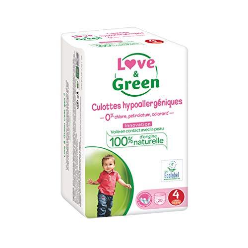 Lot de 2 Love /& Green Pack de 80 Couches Culottes Taille 4 7-14 kg 1 Mois