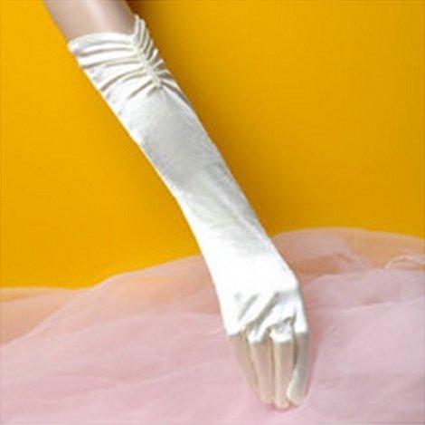 ウェディンググローブ サテン ロング 選べる3色 純白、乳白、黒 乳白色