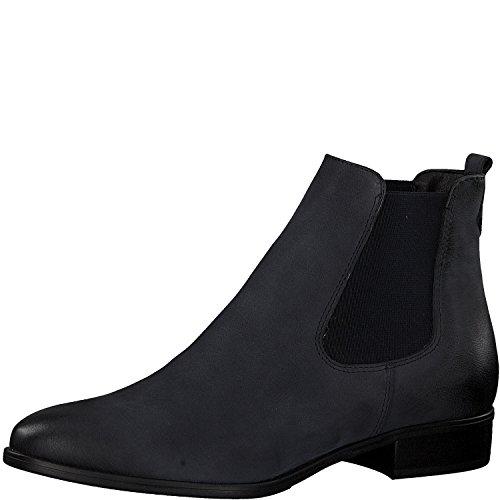 Tamaris Damen Chelsea Boots 25095-21,Frauen Stiefel,Halbstiefel,Stiefelette,Bootie,Schlupfstiefel,flach,Blockabsatz 2.5cm,Navy NUBUC,EU 39