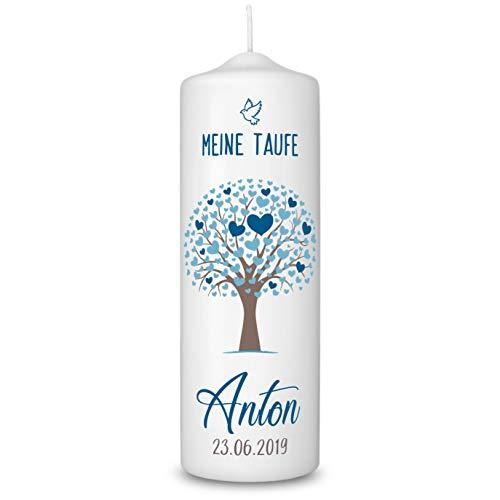 Taufkerze in Weiß personalisiert - 360° Druck mit Namen und Datum - Geschenk zur Taufe - Taufgeschenke für Mädchen und Jungen mit Taufspruch inkl. Aufbewahrungsbox - Lebensbaum Blau