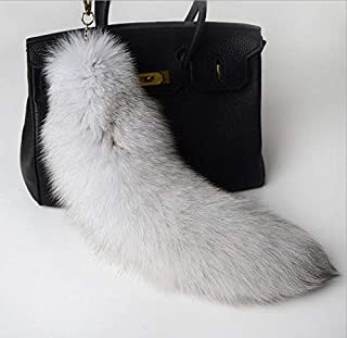 Best Quality - Key Chains - Fur Tassel Keychain Real Fox Fur Tail Key Chain Original Gray Color Vintage Women Men Key Ring Purse Bag Charm Wholesale A82 - by PPL88-1 PCs