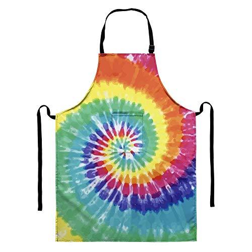 HUGS IDEA Wasserfarben-Batik-Gemälde, Unisex, Damen, Herren, niedlich, verstellbar, mit verstellbarem Nackenband und Tasche, wasserdicht, wassertropfenresistent, Kochschürzen