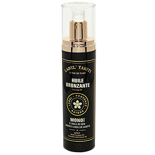 Label Provence - Monoi Tanning Oil with Carrot Oil - Tanning Accelerator for Sun with Moisturising Benefits - 4 Fl Oz