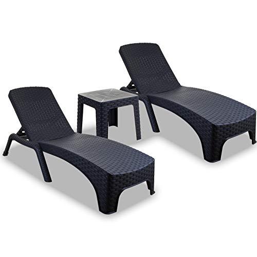Marko 3PC Sun Lounger and Table Set Outdoor Garden Patio Relaxer Grey Rattan Reclining