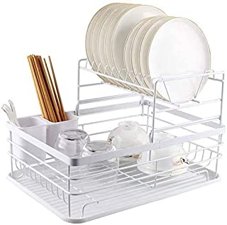 Dish Drying Stand Bowl Storage Rack Plate Organizer Utensil Holder for Kitchen Countertop Large Capacity Antibacterial Sty...