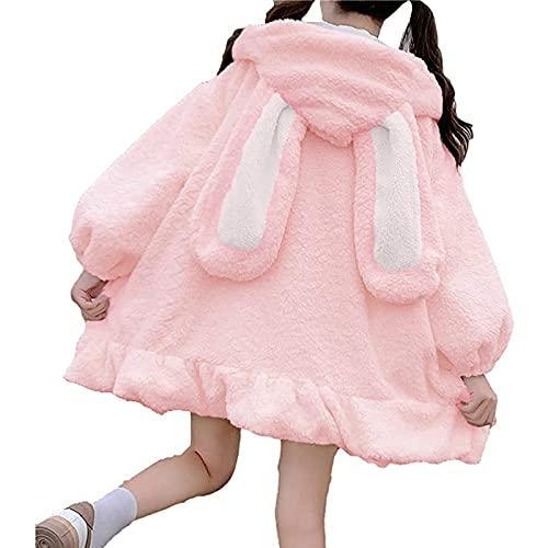 L9WEI Chaqueta de peluche Kawaii para mujer, de gran tamaño, de pelo sintético, con orejas de conejo, abrigo de invierno grueso, monocolor, con capucha, chaqueta de invierno suave, Rosa., XL