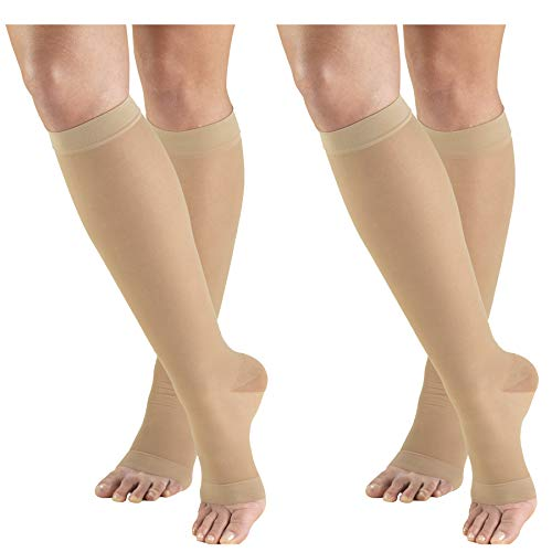 Truform Compression 15-20 mmHg Sheer Knee High Open Toe Stockings Nude, Medium, 2 Count