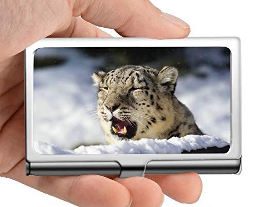 El titular de la tarjeta de visita, el estuche para tarjetas de visita del gato grande durmiente leopardo de las nieves, mantiene limpias sus tarjetas de visita