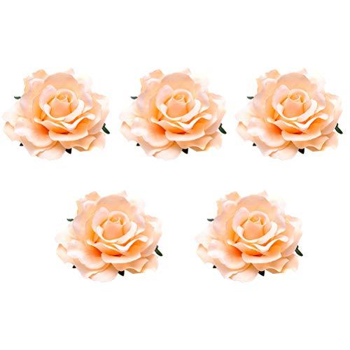 PIXNOR 5 pinzas para el pelo de rosas, broche de flores de tela para novia, ramillete de rosas realistas, pinzas para el pelo con flores, pasadores de vestir para boda (champán)