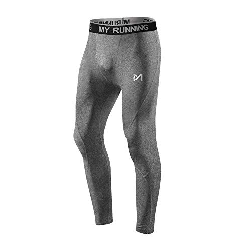 MEETYOO Kompressionshose Herren, Sport Leggings Atmungsaktiv Fitness Strumpfhosen Funktionswäsche Pants Unterhose Lang für Laufen Wandern Radfahren (Grau-2, XXL)