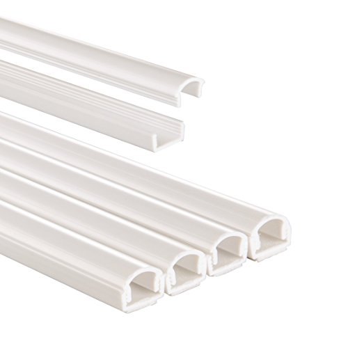 Hama Selbstklebender Kabelkanal weiß (4x Kunstoffleiste 1 Meter Länge, für 2 Kabel, halbrunde PVC Kabelabdeckung)