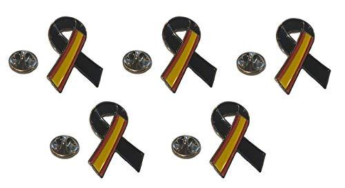 Gemelolandia     Pack 5 Pins de Solapa Lazo Negro España Black Ribbon Spain 30x25 mm   Muy Adherentes   Patch Stickers Para Decorar Tu Ropa   Fáciles de Poner