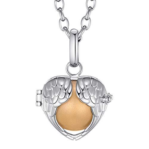 Morella® Damen Halskette Edelstahl 70 cm mit Engelsflügel Herz Anhänger und Klangkugel Gold Ø 16 mm in Schmuckbeutel