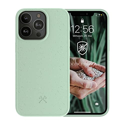 Woodcessories - Antibakterielle Bio Hülle kompatibel mit iPhone 13 Pro Hülle Mint grün - Plastikfrei, nachhaltig