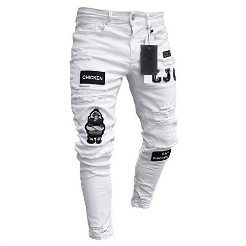 Vaqueros para Jeans Pantalones Pantalones De Chándal para Hombre, Pantalones Vaqueros Sexis con Agujeros, Pantalones Casuales De Retazos para Hombre, Pantalones Pitillo Rasgados, P