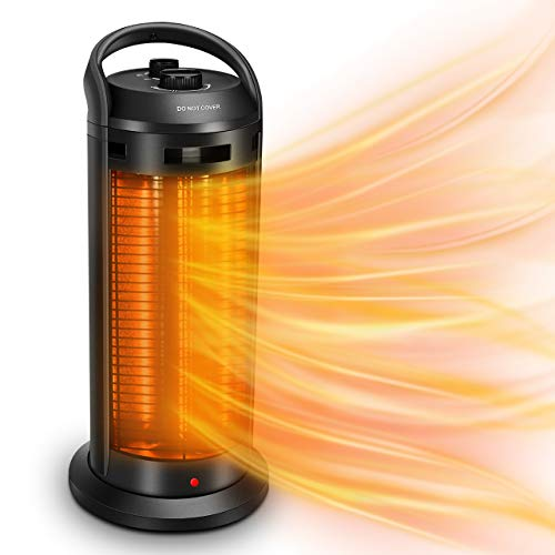 Air Choice Space Radiant Heater - Infrared Heater, 120° Oscillation Adjustable Electric Heater 1500W w/4 Heating Modes, Outdoor Heater w/Tip-Over & Overheat Protection, Super Quiet, 3s Heating
