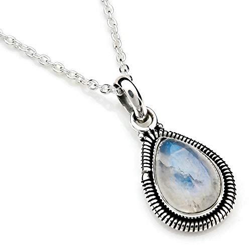 Kette mit Mondstein Halskette Kettenanhänger 925 Silber weiß blau (107-04 01), Kettenlänge:45 cm