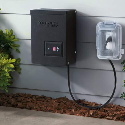 Portfolio 00689 200-Watt 12-Volt Multi-Tap Transformer Landscape Lighting Transformer Digital Timer Dusk-to-Dawn Sensor